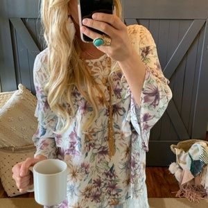 Floral and Lace Boho Blouse, Size L, NWT